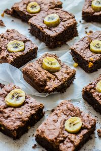Vegan Banana Peanut Butter Chocolate Brownies. Recipe and Food Photography by Shika Finnemore, The Bellephant.
