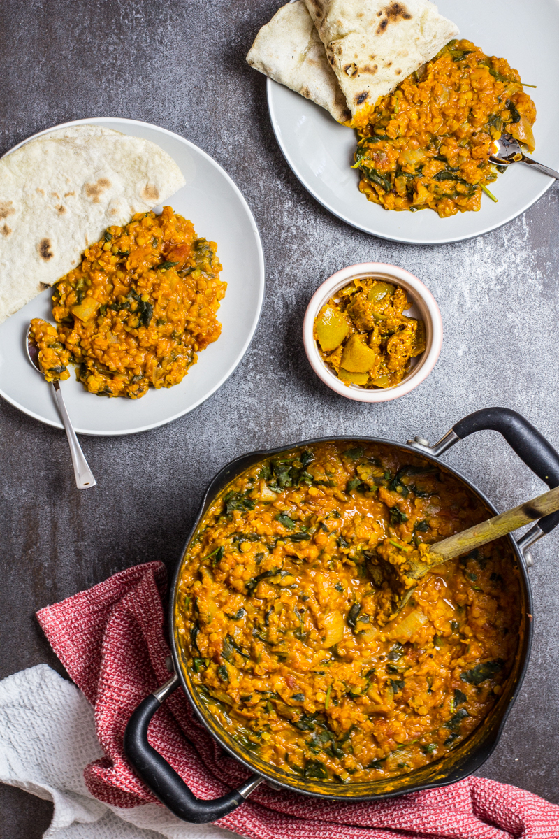 Spicy Lentil Curry with Spinach. Recipe and Food Photography by Shika Finnemore, The Bellephant
